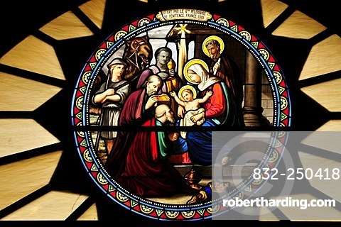 Window mosaic depicting the birth of Christ at Catherine's Church, Bethlehem, West Bank, Israel, Middle East, the Orient