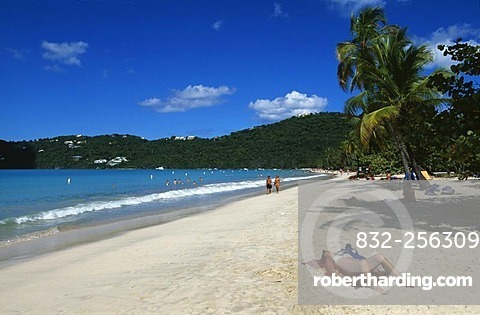 Beach with people on holiday, Magens Bay, St. Thomas Island, United States Virgin Islands, Caribbean