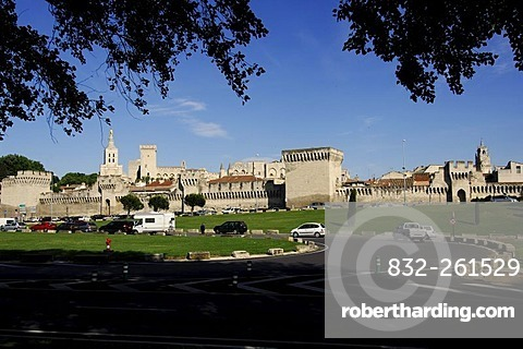 City walls and Popes' Palace in Avignon, Provence, France, Europe