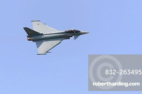 Typhoon eurofighter, German Airforce multi-purpose fighter plane in flight, airshow, ILA 2008, International Air Display, Berlin, Germany, Europe