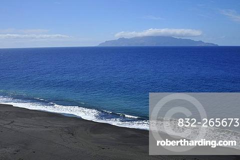 Black beach of Sao Filipe and Brava Island, Fogo, Cape Verde Islands, Africa