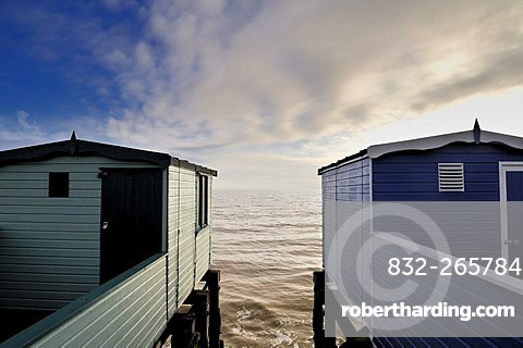 Changing huts at Frinton, Essex, England, Great Britain, Europe