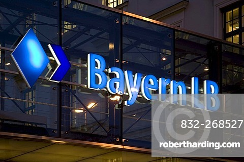 Logo of Bayern LB at headquarters by night in Munich, Bavaria, Germany, Europe