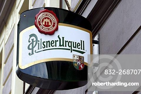 Logo of the brewery Pilsner Urquell in Pilsen, Plzen, Bohemia, Czech Republic, Europe.