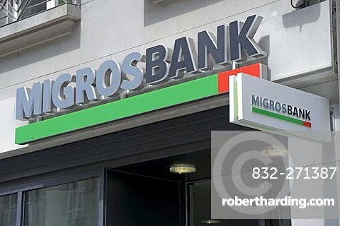 Migros Bank, signage, Berne, Switzerland, Europe