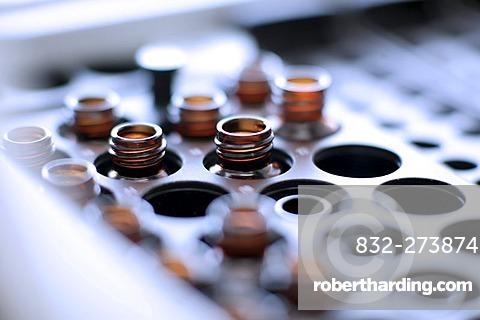 Bottles in medical laboratory for centrifuge