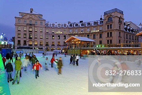 Karlsplatz Stachus ice-skating on a artificial scating ring Munich Upper Bavaria Germany