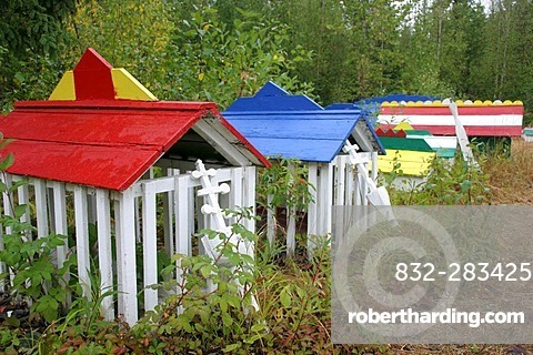 The russian orthodox cementary in the village of Eklutna Alaska USA