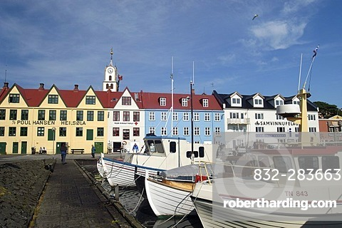 Row of old houses in the harbour of Thorshavn Faeroe Islands