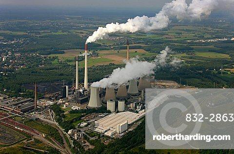 Aerial photograph, Kraftwerk Scholven, power plant with five cooling towers only, EON VEBA Kraftwerke Ruhr AG, air pollution, emission, Gelsenkirchen-Buer, Ruhr Area, North Rhine-Westphalia, Germany, Europe