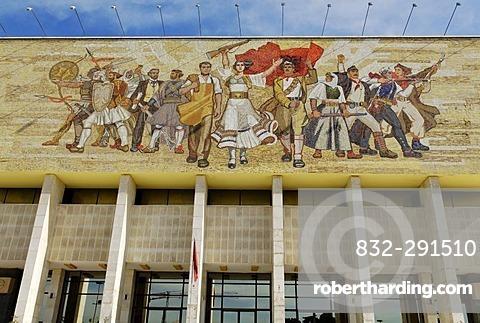 Socialist propaganda and hero mosaic on the National Museum, Skanderbeg Square, Tirana, Albania, Europe