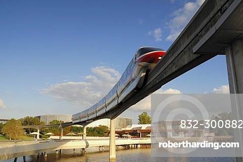 Monorail transiting through Epcot in Walt Disney World, Florida, USA