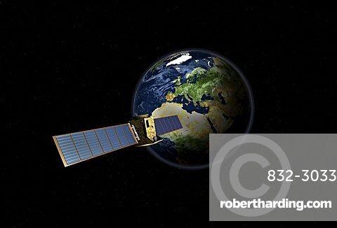 Satellite in front of the globe with Europe, symbolic image Galileo navigation system, overhead intelligence, data transmission