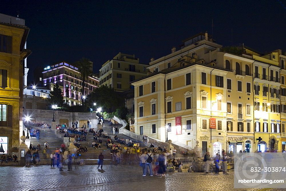 Spanish Steps (Italian: Scalinata della Trinita dei Monti) at night, Rome, Italy, Europe