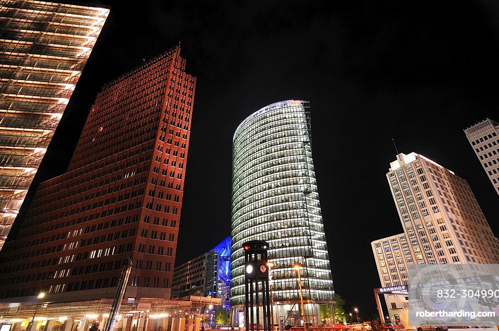 Potsdamer Platz, Potsdam Square at night, Berlin, Germany, Europe