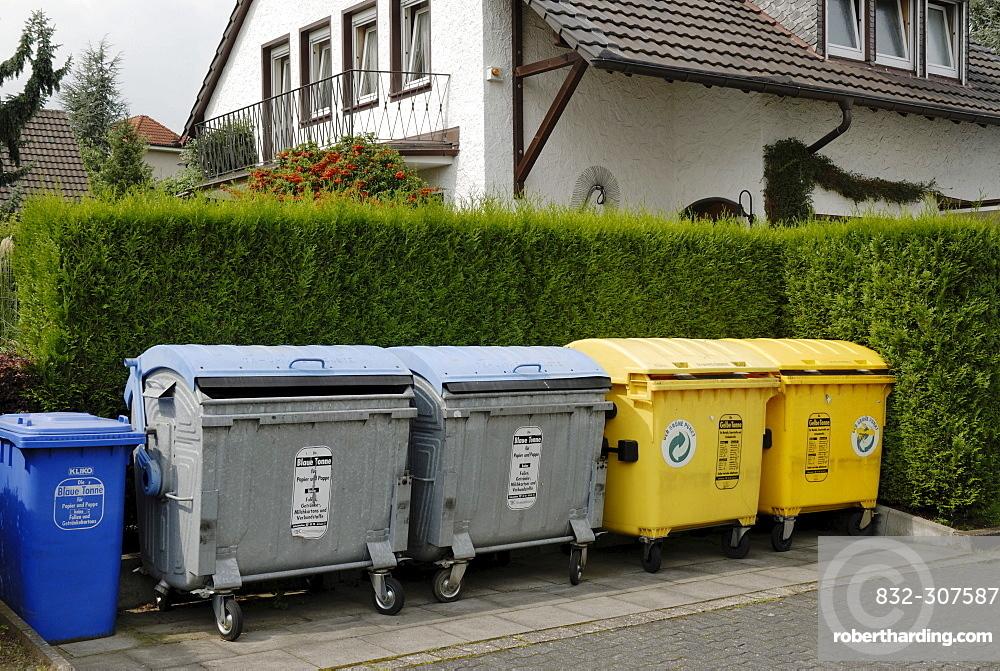 Garbage bins, waste paper bins and recycling bins