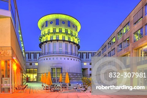 State University of Music and Performing Arts at night, House of History, Stuttgart, Baden-Wuerttemberg, Germany, Europe