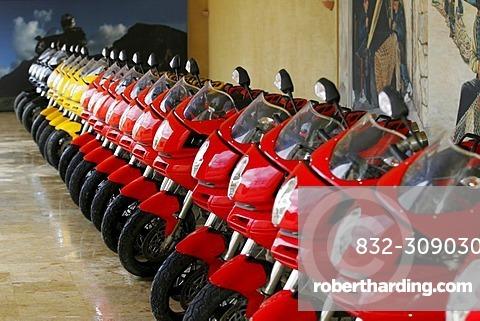 Ducati Multistrada motorcycles in a row