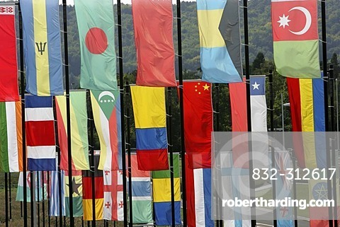 DEU Germany : Flagpoles with flags of most the the states of the earth. United Nations Square Bonn. |