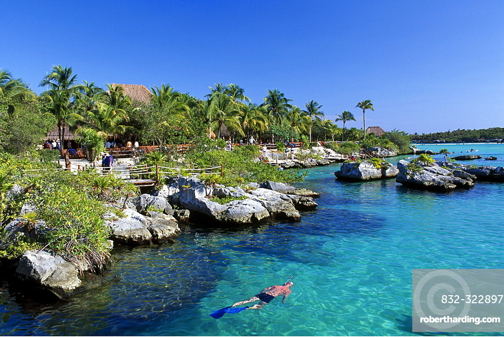 Snorkeler in the Xel-Ha Leisure Park, Riviera Maya River, Yucatan, Mexico, North America