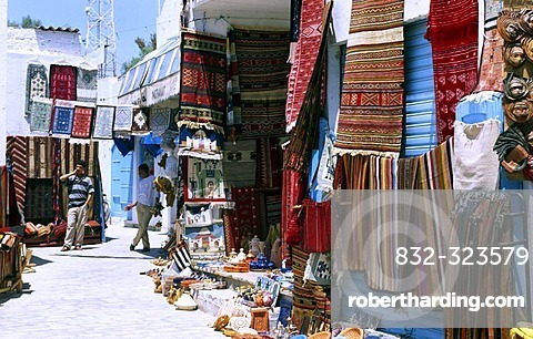 Carpets for sale at the market or Souk, Houmt Souk, Djerba, Tunisia, Africa