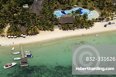 Aerial view, sea and hotel area, Mauritius, Mascarene Islands, Indian Ocean