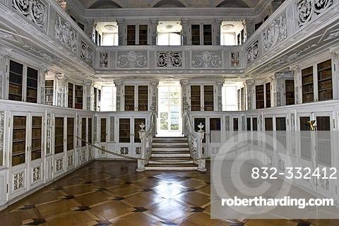 Library, baronial church, Amorbach, Hesse, Germany