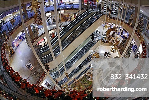 City Point department store, decorated for Christmas, shopping center, escalator, Nuremberg, Middle Franconia, Bavaria, Germany, Europe