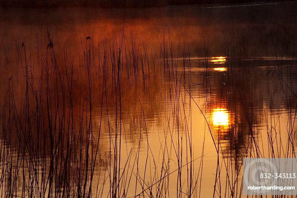 Sun on the water of the Krumm Lake, North Tyrol, Austria, Europe