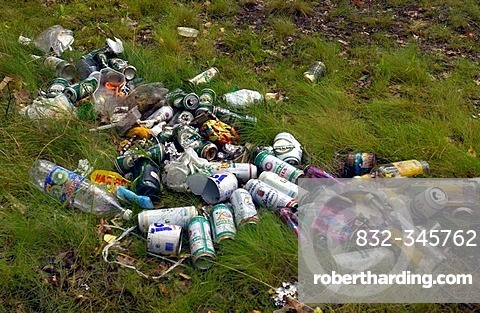 Garbage after a party night on a camping site