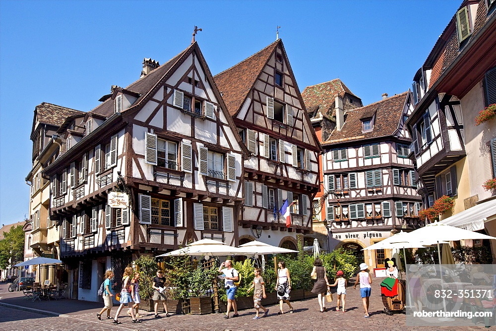 Half-timbered houses, historic town centre, Colmar, Alsace, France, Europe