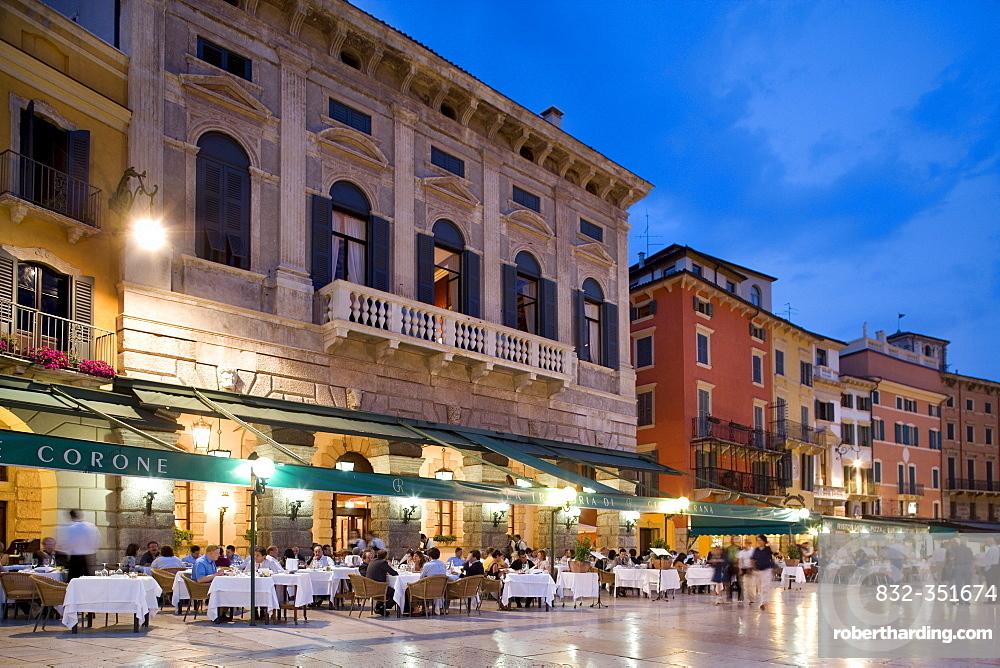 Restaurants on the Piazza Bra Square, evening, Verona, Venice, Italy, Europe