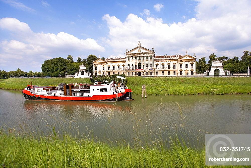 Ship on the Brenta River in front of the Villa Pisani, Stra, Veneto, Italy, Europe