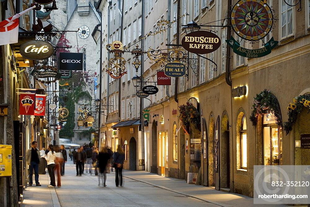 Getreidegasse alley, Salzburg, Austria, Europe