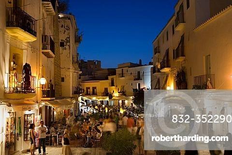 Illuminated restaurants in the historic city Dalt Vila, Ibiza, Balearic Islands, Spain, Europe