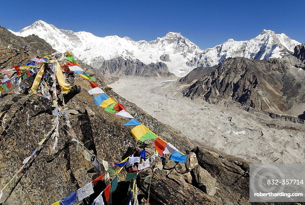 View from Gokyo Ri (5360) towards Cho Oyu (8201) and Mahalangur Himal, Sagarmatha National Park, Khumbu Himal, Nepal