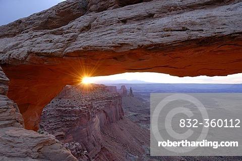 Sunset at Mesa Arch, Moab. Canyonlands National Park, Utah, USA