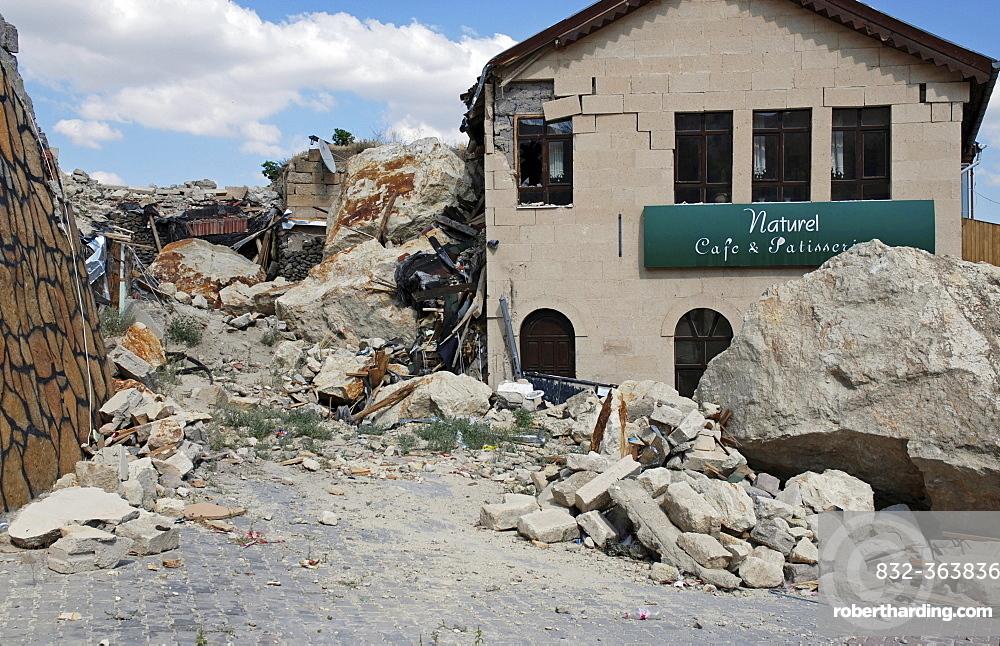 Stone-avalanche, damaged cafe, Uerguep, Cappadocia, Turkey