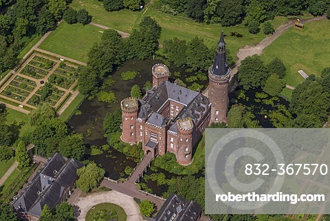 Aerial view, Schloss Moyland Caslte, neo-Gothic style, Bedburg-Hau, Lower Rhine region, North Rhine-Westphalia, Germany, Europe