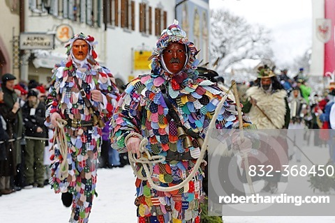 Men dressed in traditional carnival costumes, carnival parade, Maschkera, Mittenwald, Werdenfelser Land, Upper Bavaria, Germany, Europe