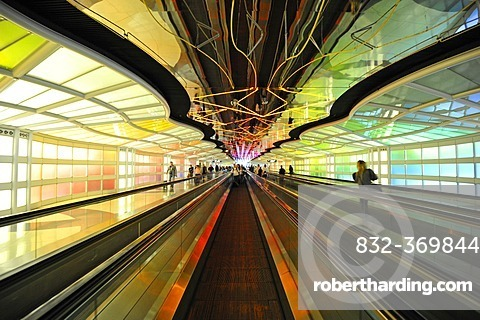 Terminal 1, Concourse BC, connecting tunnel, O'Hare International Airport, Chicago, Illinois, USA, America