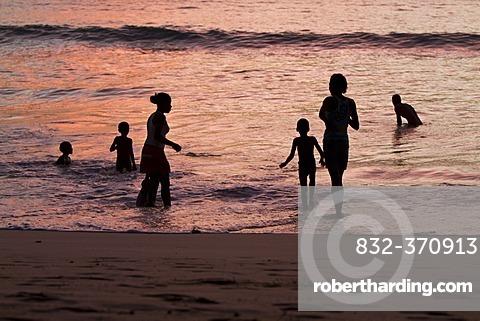 Creoles at the beach, Anse Takamaka, Mahe, Seychelles, Africa, Indian Ocean