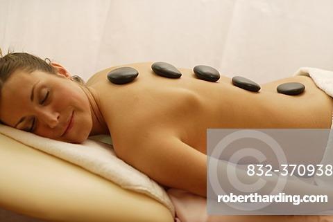 Women having a Hot Stone Massage, spa