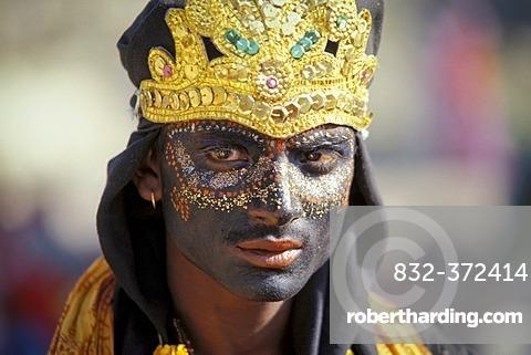 Young man dressed as the Hindu shepherd god Krishna, portrait, Kumbh or Kumbha Mela, Haridwar, Uttarakhand, formerly Uttaranchal, Indian Himalayas, North India, India, Asia