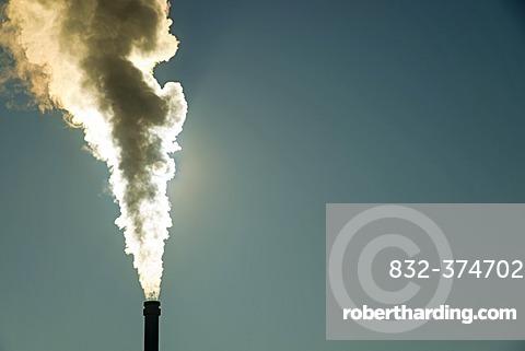 Smoking chimney of a modern biomass-fired power station, Schwäbische Alb, Ulm, Baden-Württemberg, Germany