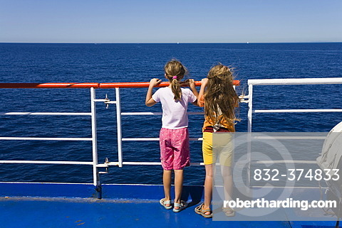Children at a guardrail, ferryboat, Italy, Mediterranean, Europe