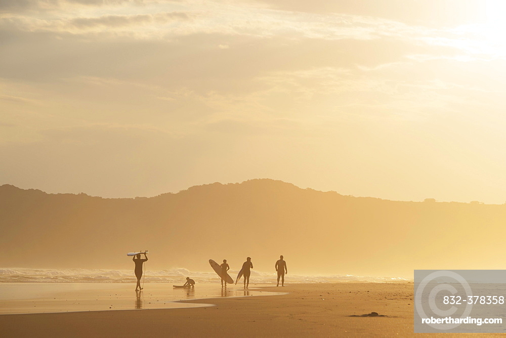 Surfer in the evening in backlight, beach at Sedgefield, South Africa, Africa