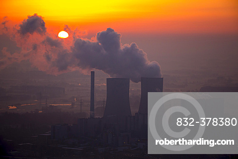 Westfalen coal-fired power plant of RWE Power in the sunrise, Hamm, Ruhr district, North Rhine-Westphalia, Germany, Europe