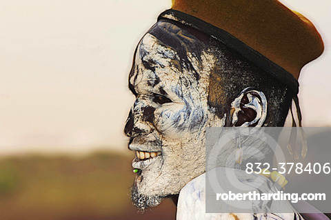Nyangatom or Bume man with painted face, Omo river Valley, Ethiopia, Africa