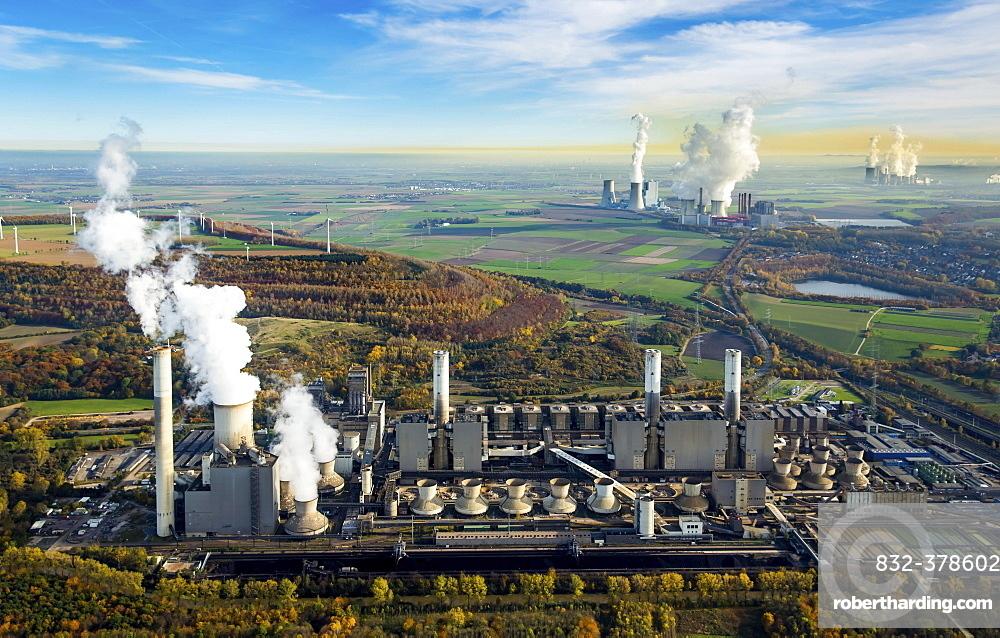 Frimmersdorf Power Station, Neurath Power Station, BoA 2 and 3, Niederaussem Power Station, Frimmersdorf Power Station, RWE Power, lignite power plant, Grevenbroich, Rhineland, North Rhine-Westphalia, Germany, Europe